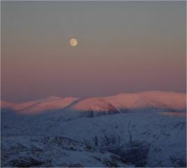Sunset, Moon rise over the Eastern Fells