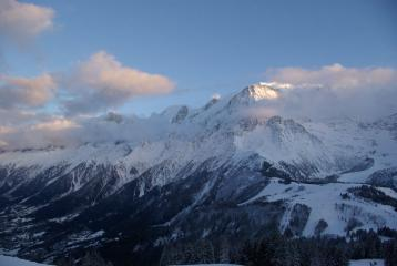 Mont Blanc trying to peek through the clouds
