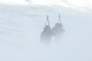 Blowy start to a ski tour.