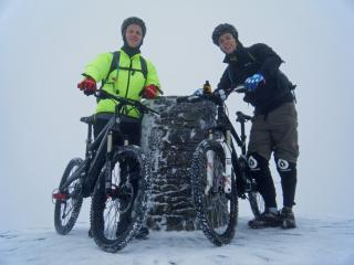On the summit of Snowdon after biking up the Llanberis path, 14/11/2010