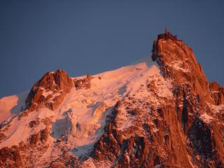 Aiguille du midi as the sun sets