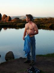 Swimming in Doxy's Pool (at end of 45 climbs at The Roaches)
