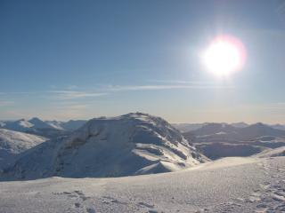 Beinn Dorain Summit into the sun
