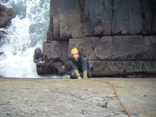 Andy on Porth Clais Crack