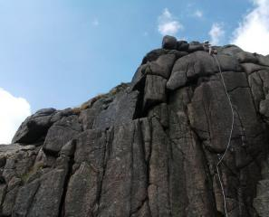 Topping out on Wind Wall at Sheeps Tor