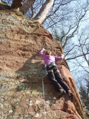 Buffalo Bill 6a, Coudy Crag,  Ali Williams climbing