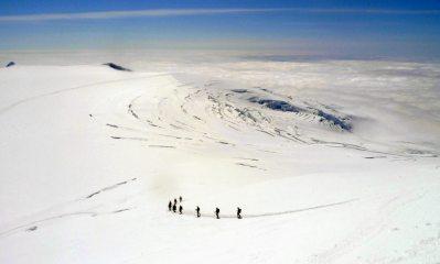 Descending Hvannadalshnúkur (6,921 ft) Iceland's highest mountain, situated on the Öræfajökull volcano.