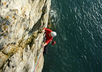 Coming up to the belay