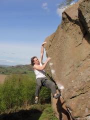 Ben Norman on the classic 'Bowl Rim' at Huntsham crag, 6a