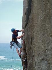 A climber on Cure by Choice (HVS), Bosigran Ridge Area, taken on 22 April 2011.