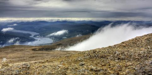 From the top of the UK, fog billowing in the gully below