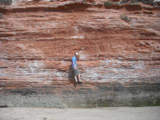 bouldering at exmouth in the sun