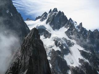 Climbers on summit of Petit Charmoz