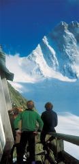 Jon Tinker, Rick Graham and Martin Doyle at the Leschaux Hut a few days before the 1st ascent of Super Shroud