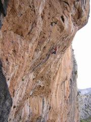 Richard Davies climbing the 8a.