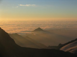 Dawn over Italy, from the SSE ridge of Weissmies