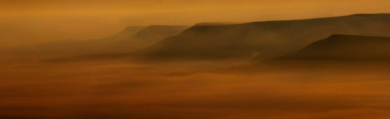 Mynydd Troed and the Black Mountains as seen from Cribyn at 5am May 2010