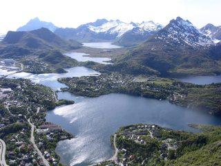 View of the mountains surrounding Svolvaer from on top of the Svolvaergeita, Lofoten