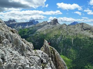 Climbers at the top of Torre Piccola di Falzarego - from the final pitches of Torre Grande di Falzarego