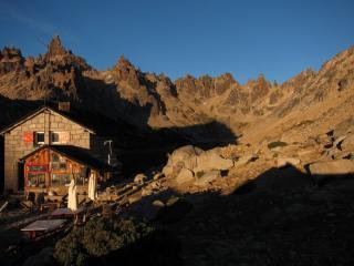 Sunrise at the refugio.  Frey, Argentina.