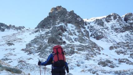 Ian approaching Inglis Clark Ridge, Sron na Creise.