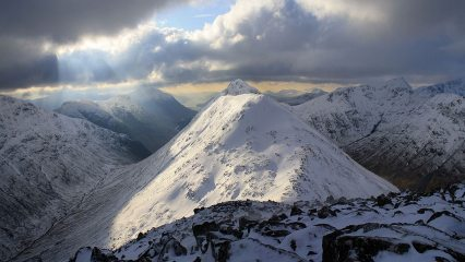 Floodlights on the Wee Buachaille