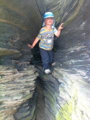 exploring at Curbar