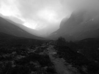 Walking in to the north face of Ben Nevis hoping for some winter climbing.