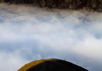 One step into the clouds!  Descending the north ridge of Y Garn.