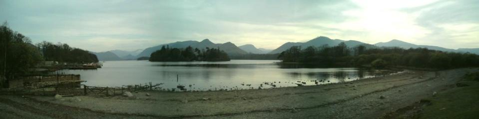 Derwent water from Keswick. 3 photo stitch using the panorama option on my camera.