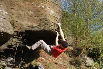 Enjoying the Welsh sun while making the first move onto the face of Simple Magic