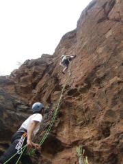 Lew climbing with Keenan belaying