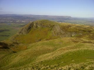 Looking across to Castle law and Logie Buttress (left)