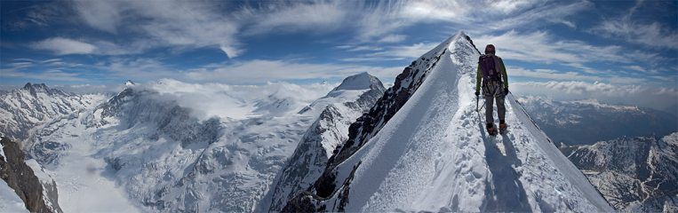 Stitched shot approaching the Eiger Summit after climbing the 1938 route