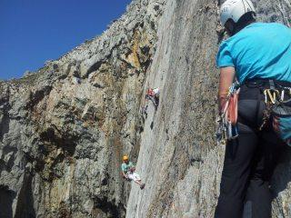 Jezza waiting to climb