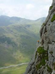 Unknown climber on the Gangway of Bracket and Slab, Gimmer Crag