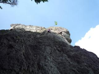 left climber on route