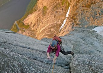 High on the north wall of Stetind