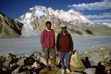 Karakoram porters beside the Nobande Sobande Glacier