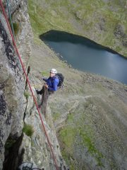 Kev on hanging belay at the end of P3 of Murray's Route, Dow Crag