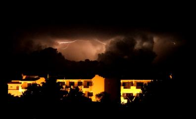 Electric storm over Porto Colom, Mallorca.