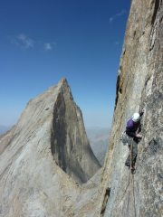 Ian Cooper on another scary traverse. Free climbing the Mirror Route, Peak 4810.