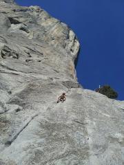 My son Kai, 5 years old, seconding Pine Line on El Cap, Yosemite.