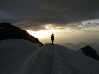 Walking off Le Pelvoux at dawn