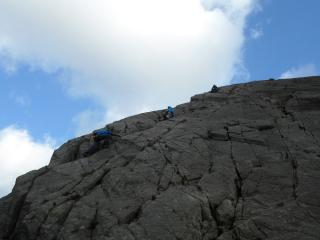 Belaying Andy and Rich up Little Tryfan
