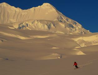 Descent from 'Madonna's Peaks' after first ascent. Antarctic Peninsula