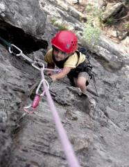 Kai Seth Robertson, 5 years old, seconding a 3 pitch route in the Cathedral Ranges, Victoria, Australia.