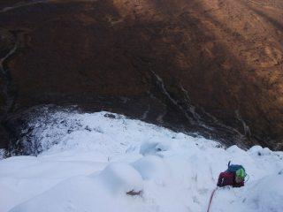 Becka high up on North Buttress