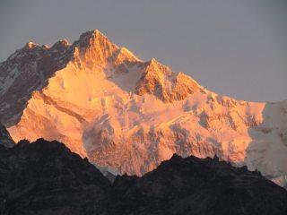 Kangchenjunga south face, seen at dawn from Dzongri Peak viewpoint.