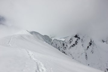 Looking up the Quater Deck on the Bonar Glacier, Mt Aspiring, NZ